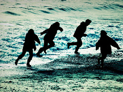 Silhouette Beach Fun. One step beyond (s0ulsurfing) Tags: light sea england people beach silhouette kids contrast wow wonderful children fun bay coast interestingness fantastic bravo energy waves shadows play searchthebest gorgeous awesome acid joy silhouettes wave running run ps pebbles explore madness shore isleofwight getty sensational coastline moment inspirational isle carefree wight 2007 ordinary freshwaterbay instantfave s0ulsurfing abigfave diamondclassphotographer flickrdiamond