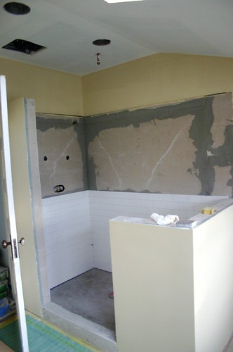 paint and tiling in the bathroom