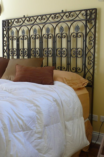 ideas for headboards. This iron headboard was