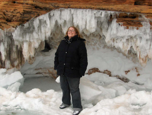 Mary in a drippy ice cave.