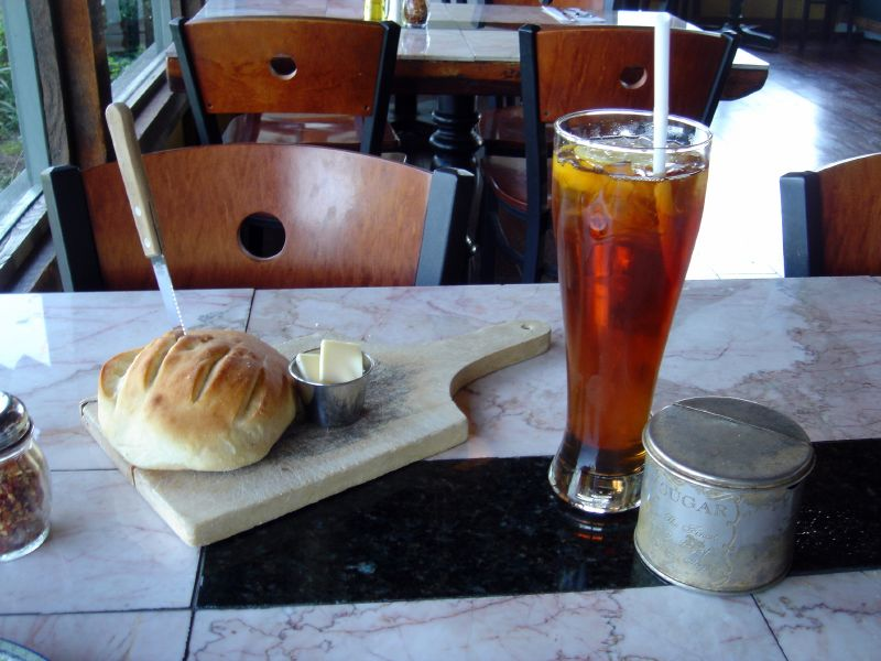 Freshly Baked Bread and Iced Tea