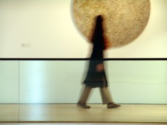Ghost (Nicote) Tags: woman brown moon abstract blur art girl look lines museum composition germany movement blurry stuttgart walk pastel stripes coat ghost stripe exhibition line fullmoon cube round moment middle plain würfel divided browse somehowabstract