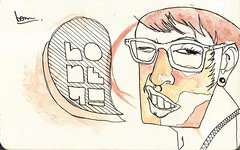 random portrait. (.ks.1.) Tags: ks ks1 illustration drawing sketch colored moleskine random portrait watercolor ink pen pencil collage