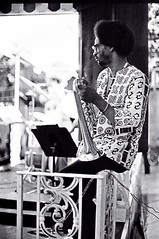 Jimmy Owens sitting on the Jazzmoblie rail (Tom Marcello) Tags: photography trumpet jazz jazzmusic jazzmusicians jazzconcert livejazz jimmyowens jazzplayers jazzphotos jazzphotography jazzmobile jazzphotographs tommarcello