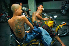 yangon bikers (phitar) Tags: topf25 tattoo night gangsters cool yangon burma garage motorbike attitude elite myanmar bikers rangoon