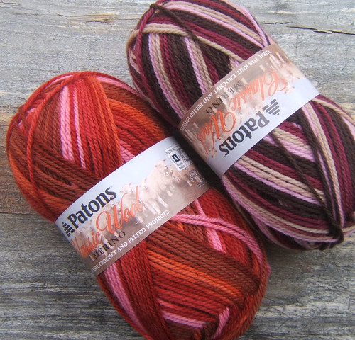 "Patons Classic Wool in colors ""Regency"" and ""Rosewood"""