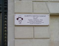 Champs Elysee Santos Dumont Plaque