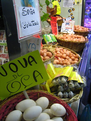 Goose eggs at an egg stand (Why don't we have this in Florence?)