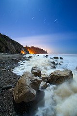 Earth, Air, Fire, Water Redux (Toby Keller / Burnblue) Tags: california longexposure toby beach santabarbara night landscape keller d70 foam orion lowtide halffull hendrys tobykeller 1118mm burnblue