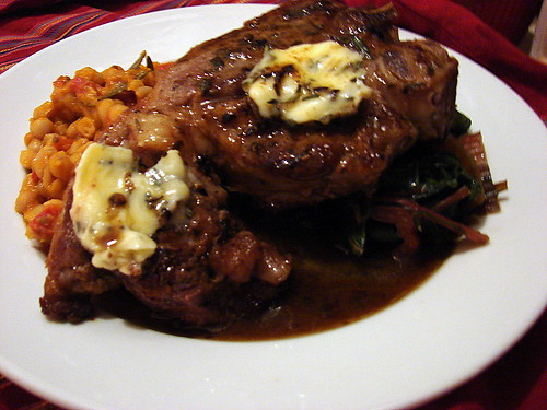 veal chop with rosemary butter