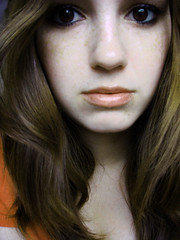 afraid (ladyinpink) Tags: life orange selfportrait true real eyes emotion fear young afraid introspection