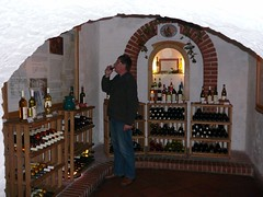 Peter tasting wine in the Hungarian House of