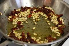 Sauteing Pine Nuts, Herbs, and Sundried Tomatoes