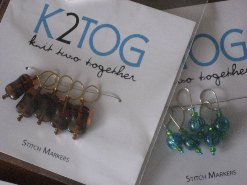 gorgeous stitch markers made by Tanya