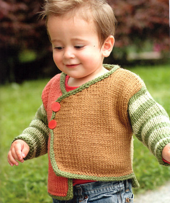 """Kid's Color-Block Cardigan from """"One Skein"""""""