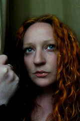 April 11 - Carrier of Gloom (julsatmidnight) Tags: light red portrait woman selfportrait black green girl rain self ga project hair georgia day mood moody hand gloomy sad curls naturallight athens chick redhead curly rainy blah curtains gloom 365 juls meloncholy rrrrrr 365days watchingrain imgloomytoday