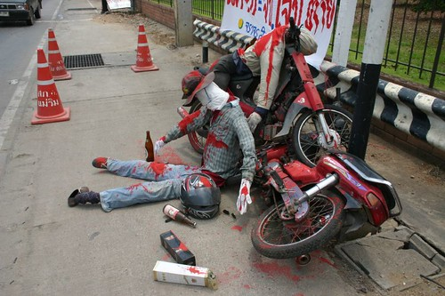 Don't drink and drive! Dummy accident to prevent drinking during Songkran. Chiang Mai.