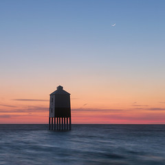 Lighthouse and New Moon (Adam Clutterbuck) Tags: uk longexposure lighthouse seascape beach square coast wooden somerset severn coastal shore sq stilts oe burnham burnhamonsea shorescape greengage adamclutterbuck woodenlighthouse ambientlightgroup showinrecentset openedition