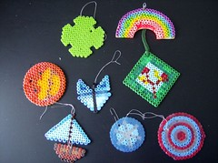 pink blue red white black color green yellow circle boat beads rainbow purple stripes crafts collection suncatcher april perler 2007