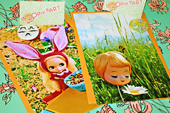 And They're Off! (boopsie.daisy) Tags: color colors vintage colorful photos buttons blonde daisy prints kenner blythe 1972 bunnyears available snailmail fruitloops posedoll boopsiedaisy boopsiemart