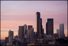 Seattle Skyline At Sunset (Crickontour) Tags: seattle longexposure pink sunset 20d beautiful skyline clouds canon buildings catchycolors fun interestingness colorful downtown skyscrapers purple tripod january 2007 smithtower columbiatower beconhill