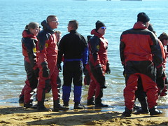 Polar Bear Plunge 2007: Rescue divers assembling (Earl - What I Saw 2.0) Tags: costumes rescue cold crazy divers media maryland helicopter celebrities specialolympics plunge plungers polarbearplunge wbal drysuits nikonl2