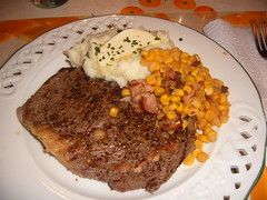 Grilled Steak, mashed potatoes and corn with bacon (KimmyFP) Tags: food bacon corn beef steak mashedpotatos