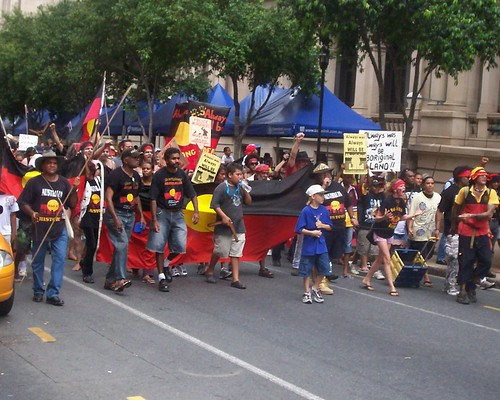 Van of march approaches cnr of George St and Queen St Mall - Invasion Day Rally and March, Brisbane, Queensland, Australia 070126-1