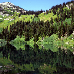 Lake Anne (bentilden) Tags: summer usa lake color green film water washingtonstate northcascades