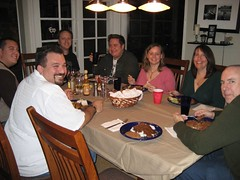 Manny, Everett, Tim, Tom, Christine, Amy and Jon take a moment from their turkey mole to smile. (12/31/06)
