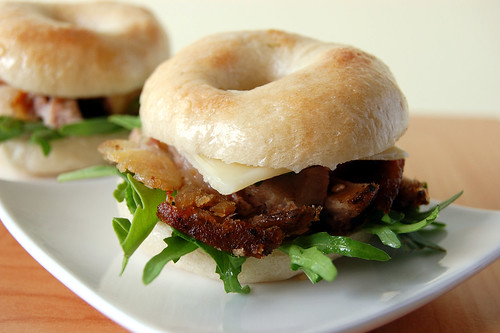 Savory Bagels with Rocket, Pork Knuckle and Cheese