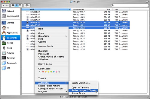 Automator - Running Resize Action