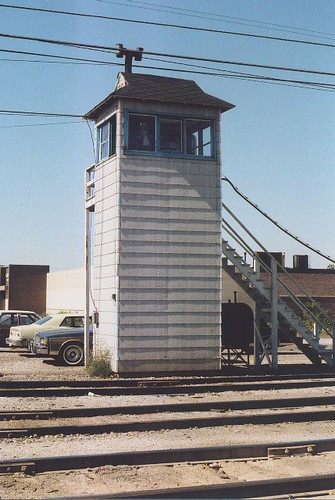 Crossing gate operators tower. GTW Elsdon Yard. Chicago Illinois USA. October 1983.