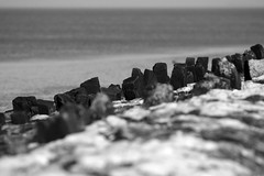 (vauka) Tags: sea sky bw texture beach nature water rock stone contrast landscape sand dof low perspective 32 1609 wesermarsch sehestedt wavebraker c72