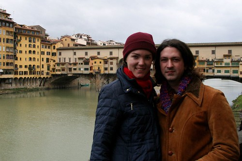Robert and Margaux pose with the Ponte Vecchio