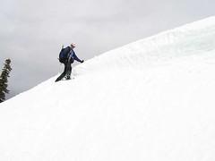 """Jim crossing narrow """"shelf"""" at false summit"""