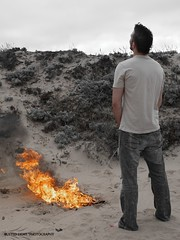 When I piss (rustedlight) Tags: california selfportrait beach fire interesting sand flames explore burn dustin urine piss urinate pyro