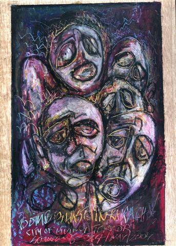 painting of faces in agony