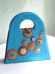 Storage handbag (a little bit of just because) Tags: blue circles felt storage handsewn handbag