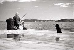 The Old Man and the Sea... and dog (Mediterraneo) Tags: sea people bw seascape slr fuji noiretblanc croatia zadar 58mm reala biancoenero adriatic exakta dalmatia biotar carlzeissjena 123bw rtl1000