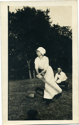 Postcard: Baseball girl