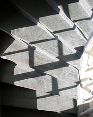 Patterns (Gerlinde Hofmann) Tags: light shadow church germany grey wooden beige stair village kirche curvy thuringia treppe step inside schatten masserberg nobw shadowsontheground madeofwood churchinside