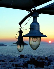 Illusion (andzer) Tags: blue sunset sea vacation sun white fish mill beach water lamp fun island greek sand wind aegean andreas greece macedonia wharf bathe thessaloniki cyclades mykonos myfaves salonica myconos  kampani zervas  ysplix andzer
