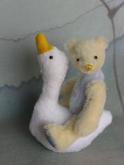 Mini bear and Mother Goose (bumpkinbears) Tags: blue white yellow miniature mini goose nurseryrhyme etsybumpkinbearsartistbearartmohairteddy