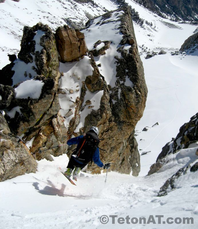 Zahan skis into the lower couloir