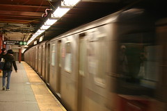 New York Subway tunnel with train.