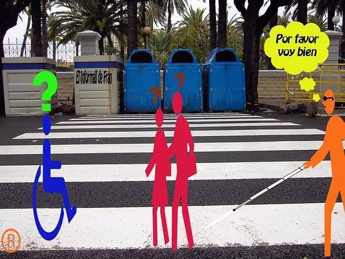 paso cortado de peatones