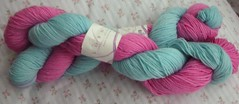 Lorna's Laces sock yarn - baby stripe colorway.