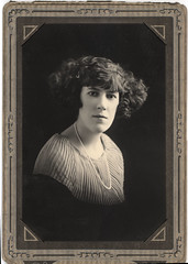 vintage portrait: woman with wide hair