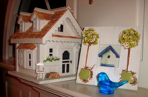 bluebird and birdhouses